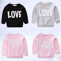 Mom Kids Long Sleeve Letter Print Parent Child Sweatshirts Letter Love upper outer garment Family Clothe Outfit