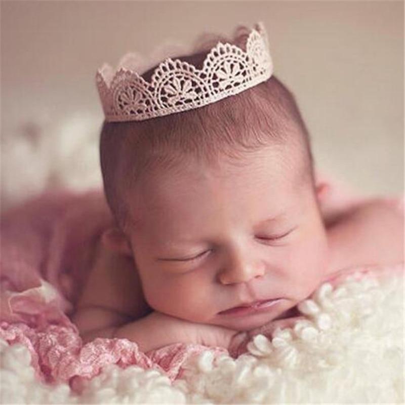 Baby Headband Crown Knitting Crochet Costume Soft Adorable Newborns Photography Props Baby Photo Hat Caps Soft Baby Hat(China)