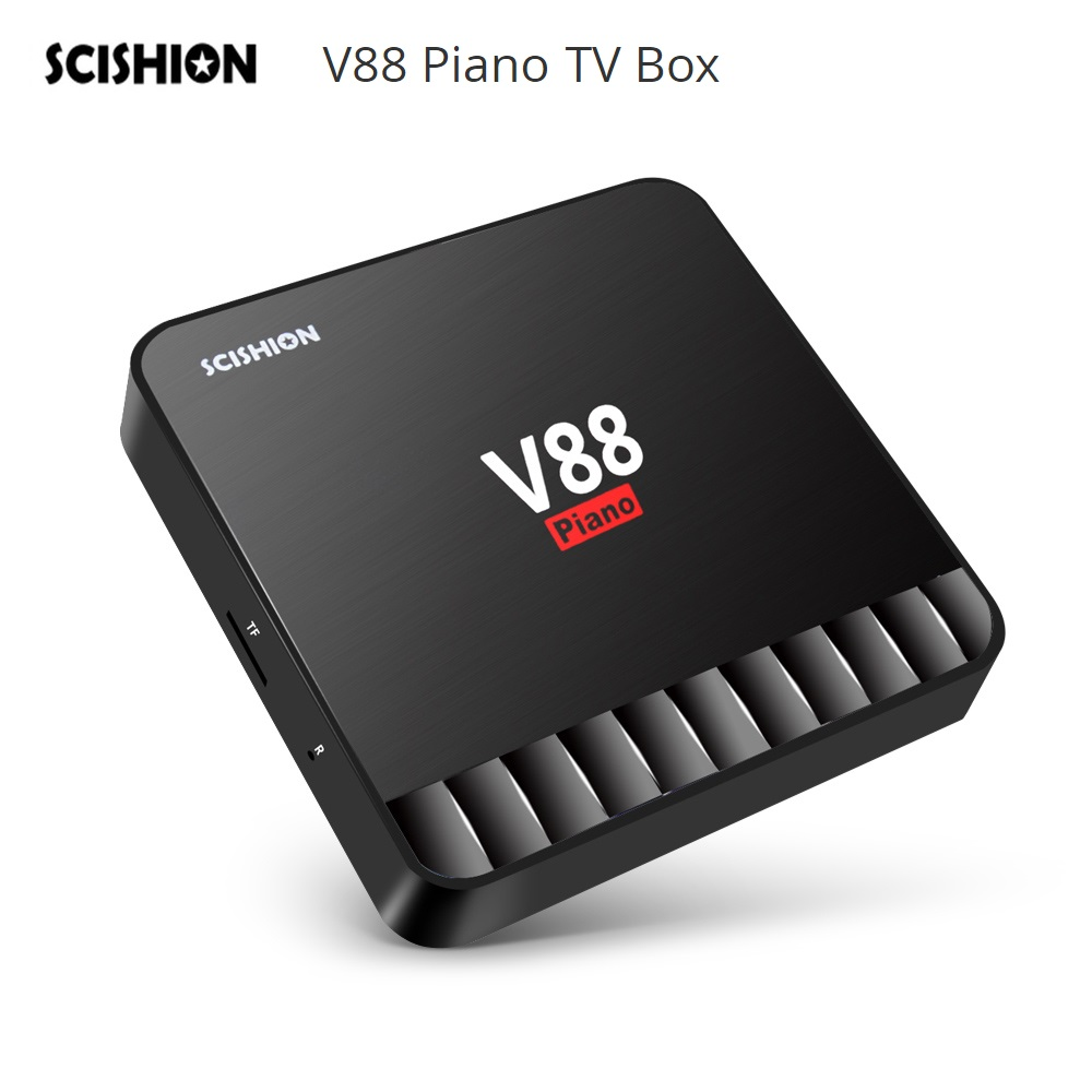 SCISHION V88 Piano TV Box 4GB 16GB Android 7.1 TV Box RK3328 Quad Core USB 3.0 4K Media Player Set Top Box scishion v88 mars ii smart tv box