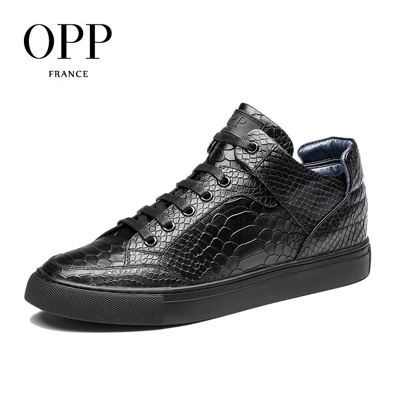 OPP men boots 2017 Genuine Leather shoes Winter Boots men Full Grain Leather Shoes Ankle Boots for men high top shoes
