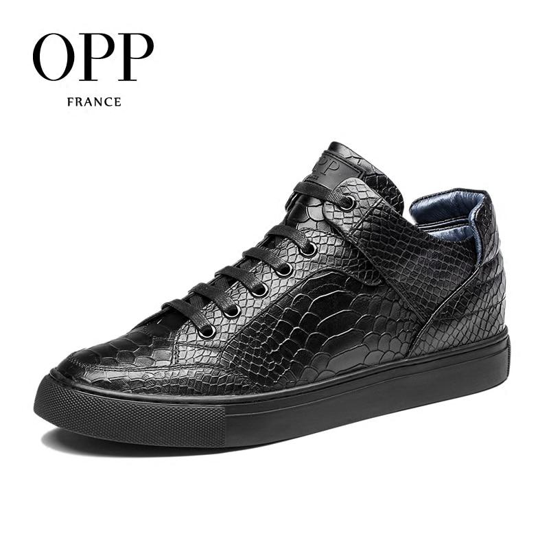 OPP hommes bottes 2017 chaussures En Cuir Véritable Hiver Bottes hommes Pleine fleur Chaussures En Cuir Cheville Bottes pour hommes high top chaussures