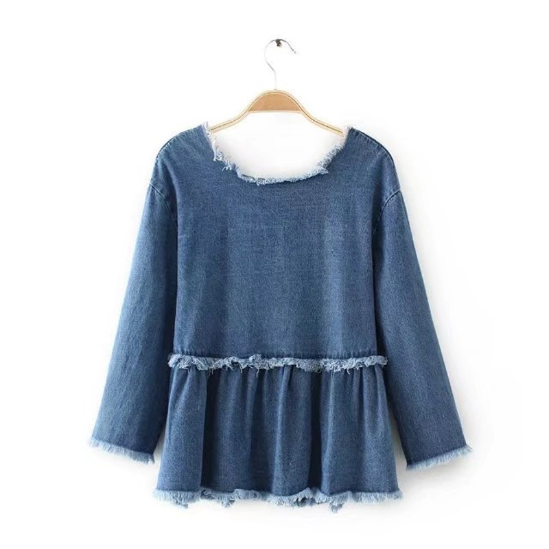 YSMILE Y 2017 Autumn Jeans Blouses Women Fashion Style Long Sleeve Solid Color Blue Denim Tassels Girls Tops Shirt HY0274