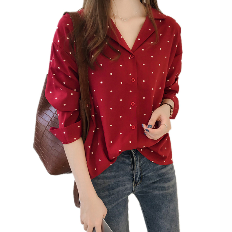 M-4XL Plus Size Chiffon Blouse Long Sleeve Shirt Women Red Black Notched White Polka Dots Shirt Casual Tops Office Ladies Blouse formal wear