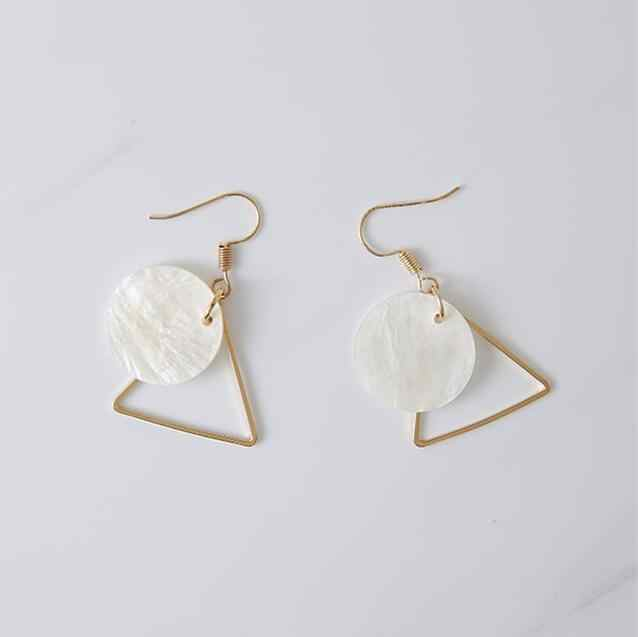 Wholesale Sale 2017 New Jewelry Natural Seashell Earrings Triangle Circle Stacking Simple Design Women's Earrings Punk