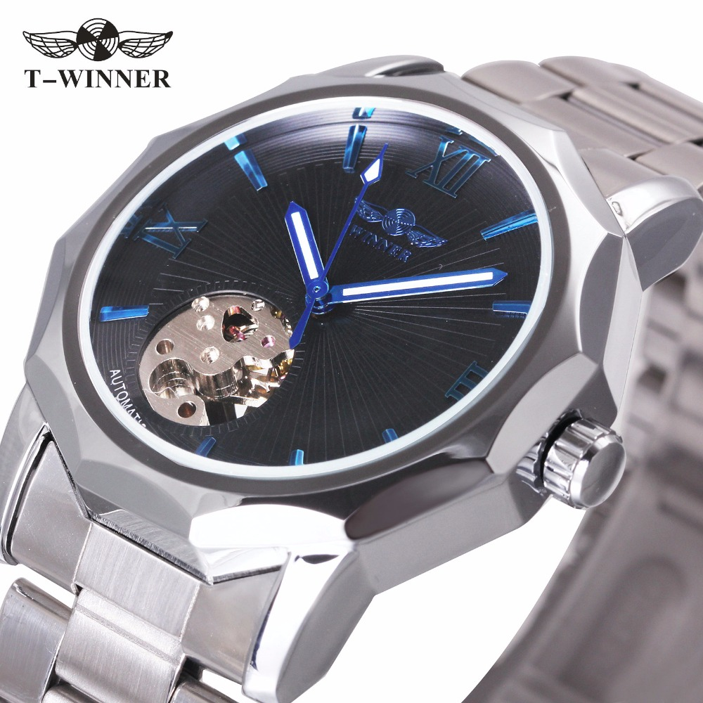 WINNER Dress Classic Men Automatic Mechanical Watch Stainless Steel Strap Blue Roman Number Transparent Case Design Wrist Watch stylish 8 led blue light digit stainless steel bracelet wrist watch black 1 cr2016