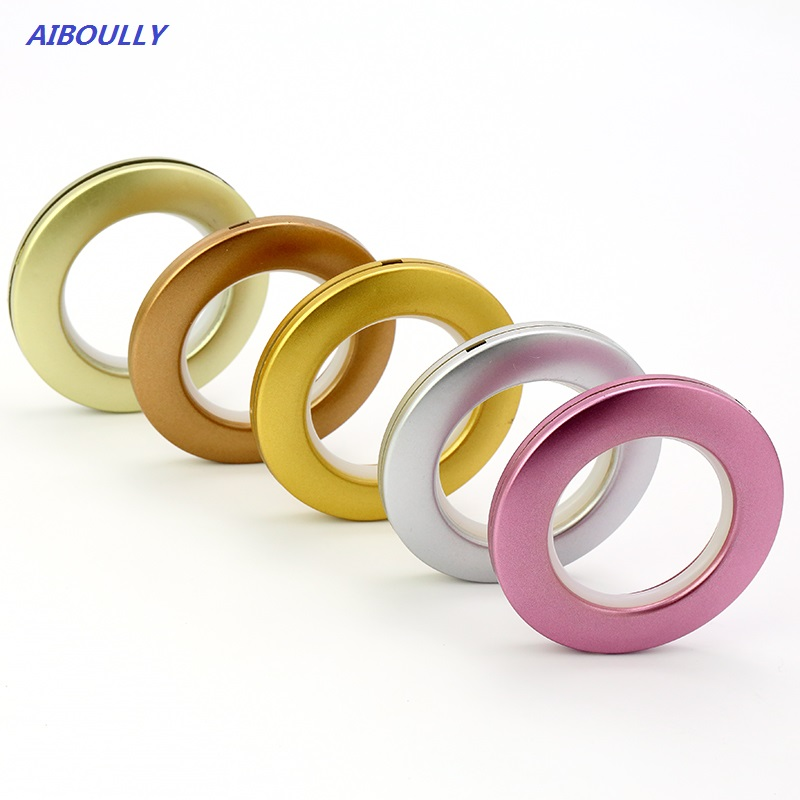 AIBOULLY 50pcs/lot Silver Curtain Accessories Punch Roman Circle Buckle All-Match 5 Colors Plastic Rings Eyelets for Curtains