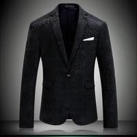 2018 New Business Custom Made Men Euramerican Style Design Wedding Dress Jacket One Button Blazer Jacket Black Flower M 4XL 8639