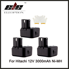 Eleoption 3PCS Cordless Drill Power Tool Replacement Battery for Hitachi EB1214L EB1212S EB1214S Battery 12V Ni