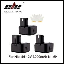 Eleoption 3PCS Cordless Drill Power Tool Replacement Battery for Hitachi EB1214L EB1212S EB1214S Battery 12V  Ni-MH 3000mAh