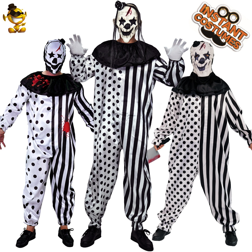 Halloween Party Adult Men Killer Clown Costume Role Play Killer Clown With Latex Mask Party Costumes