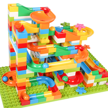 117PCS DIY Bau Marmor Rennen Run Labyrinth Kugeln Track Kinder Gaming Bausteine Spielzeug Kompatibel Mit Großen Größe Blöcke