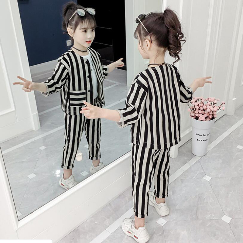 New designer children fashion outfits O neck teen girls clothing black white Striped kids summer clothes set with coat and pant