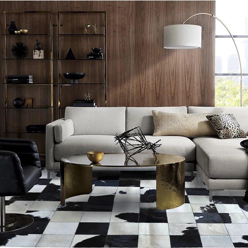 Tapis patchwork en peau de vache de luxe, tapis à damier en peau de vache noir et blanc naturel pour salon, tapis de bureau de décoration