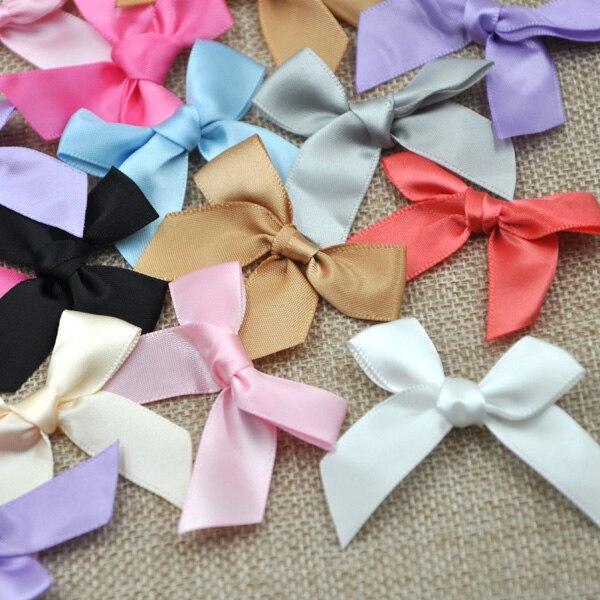 60 pcs Satin ribbon bow flower Kid's DIY Party supply Gift Packing Lots 10 colors B30
