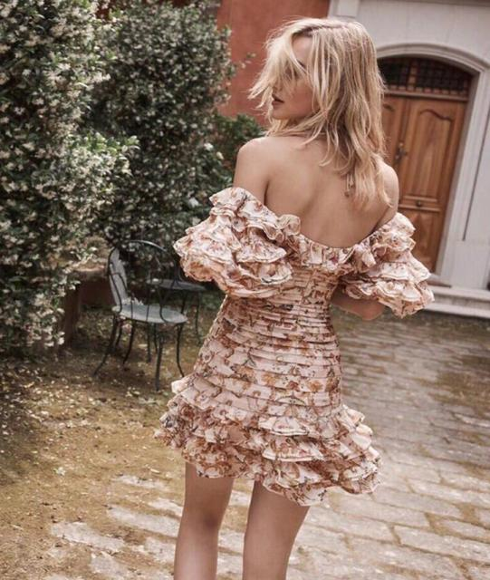 55e88a2ac086b WISHBOP 2018 Woman Fashion PAINTED HEART FOLDS DRESS Off shoulder Mini dress  with frills Halterneck Tied Back blouson sleeves