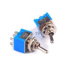 5pcs/lot High Quality 6-Pin DPDT ON-ON Mini Toggle Switch 6A 125VAC Mini Switches Free Shipping