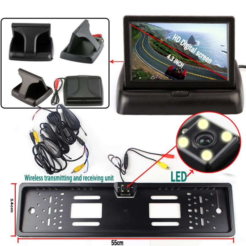 Wireless Car Styling Parking System with 4.3'' Foldable Monitor License Plate with Camera with Transmitter wireless pager system 433 92mhz wireless restaurant table buzzer with monitor and watch receiver 3 display 42 call button