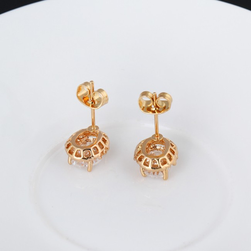 20115 fashion women simple gold plated round crystal design mosaic ...