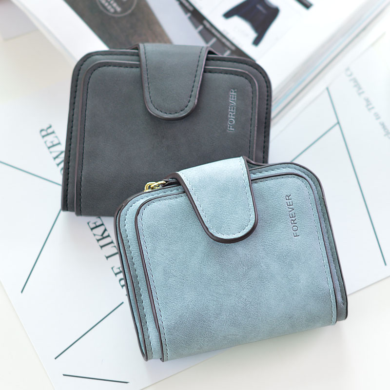 2019 New Snap Fastener Zipper Short Clutch Wallet Women Wallet Small Female Purse Short Coin Card Purse Vintage Matte in Wallets from Luggage Bags
