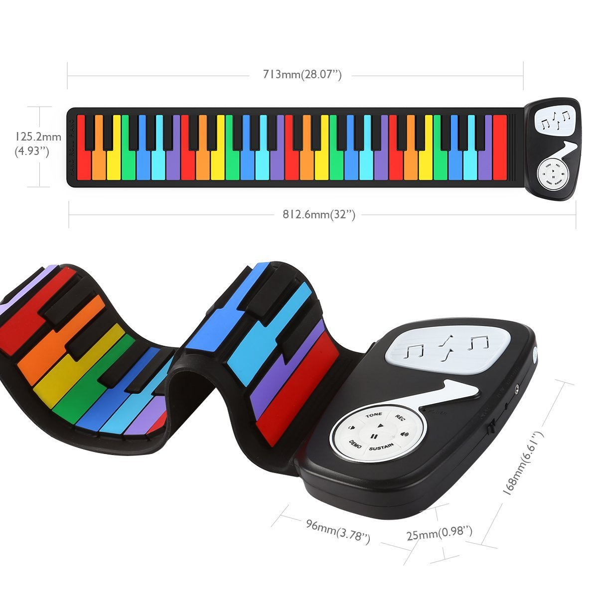 49 Key External power supply Hand Roll Piano playback Children's Keyboard Fun Rainbow Electronic Piano Support the headset