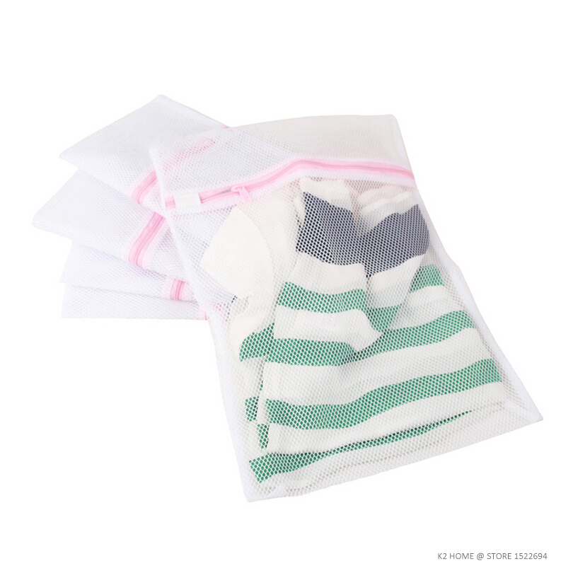 Home Mesh Laundry Bag 4-Pack Washing Bag With Zipper Lingerie Garment Bag For Net Washer Dryer Washing Machine Protect Four Size