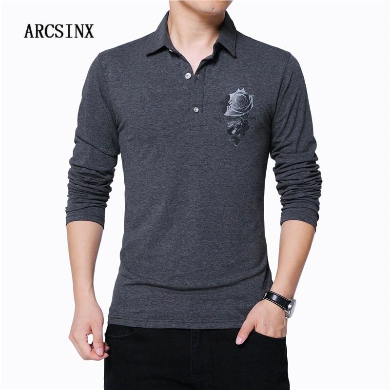 ARCSINX Casual Polo Shirt Men Plus Size 5XL Long Sleeve Polo Men Polo Shirt Cotton Spring Autumn Brand Big Size Men Polos 4XL