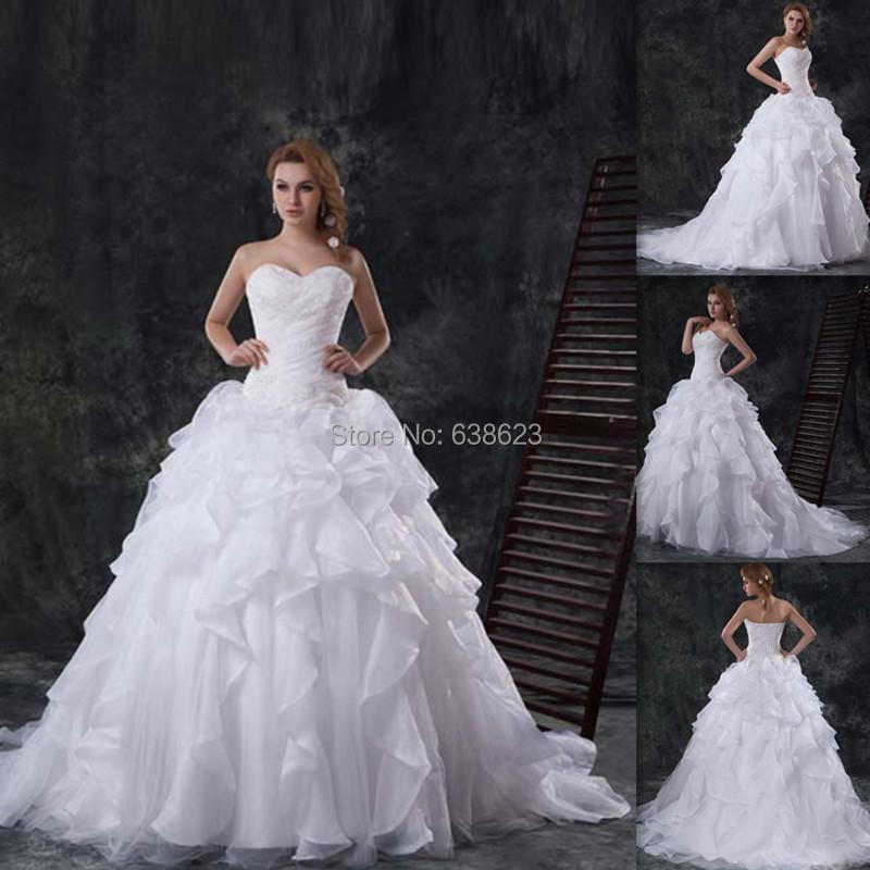 DAW2494 Wholesale 2016 Luxuriou Wedding Dresses Organza Bridal Gowns ...