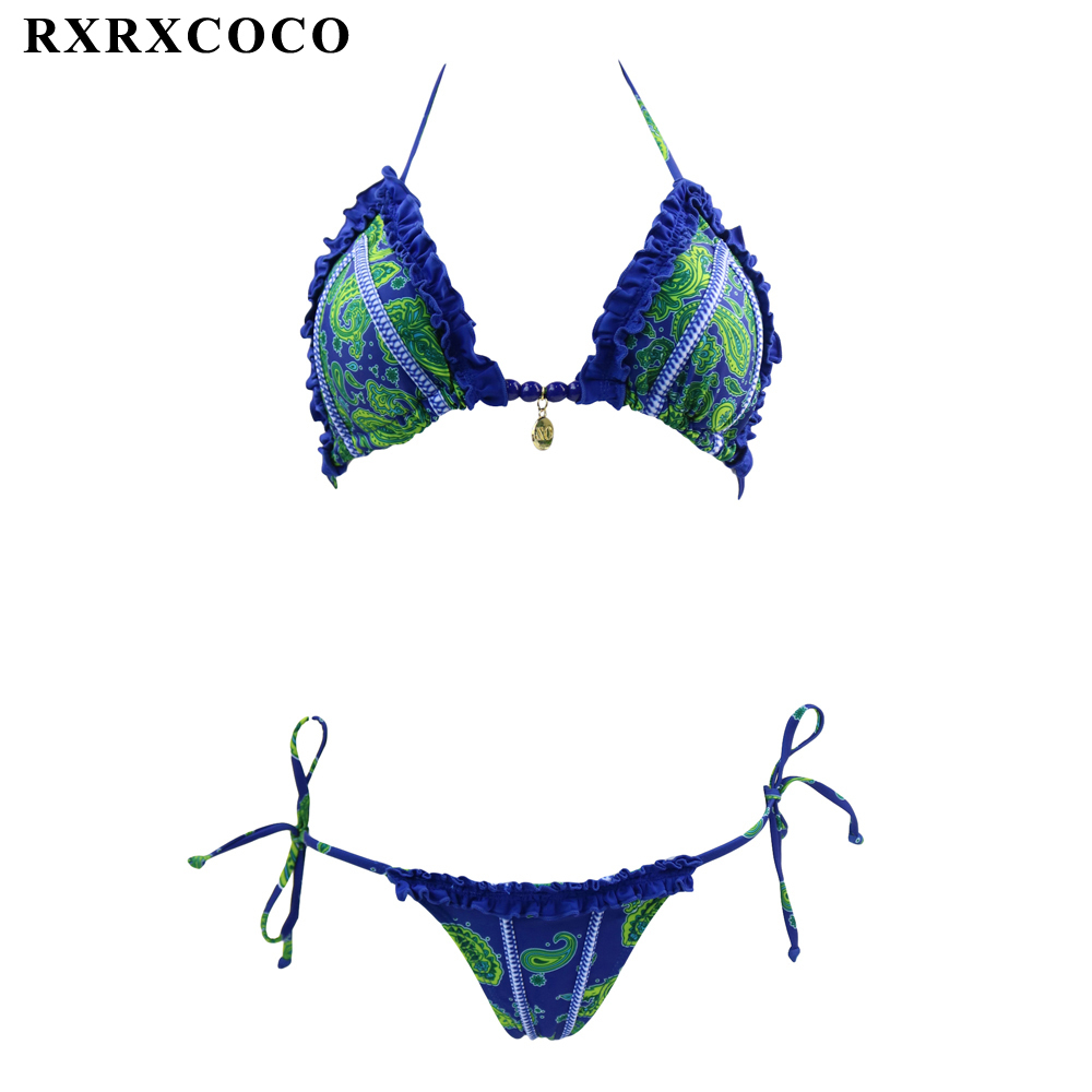 RXRXCOCO Newest 2017 Hot Bikini Set Swimwear Women Sexy Printed Swimsuit Bikinis Halter Summer Brazilian Bathing Suit Swim Wear