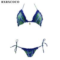 RXRXCOCO Newest 2017 Hot Bikini Set Swimwear Women Sexy Printed Swimsuit Bikinis Halter Summer Brazilian Bathing