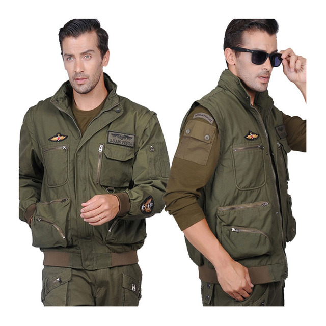 Military Men's Jacket Detachable Sleeves US Air Force Pilots Army Jacket Coat For Men Plus Size Tooling Outwear M~3XL BF7717