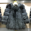 2016 Autumn Winter coat Thick Warm Fur New Fox Fur coat Solid Full Pelt Slim Single Breasted Outerwear Women Fashion Fur Coat