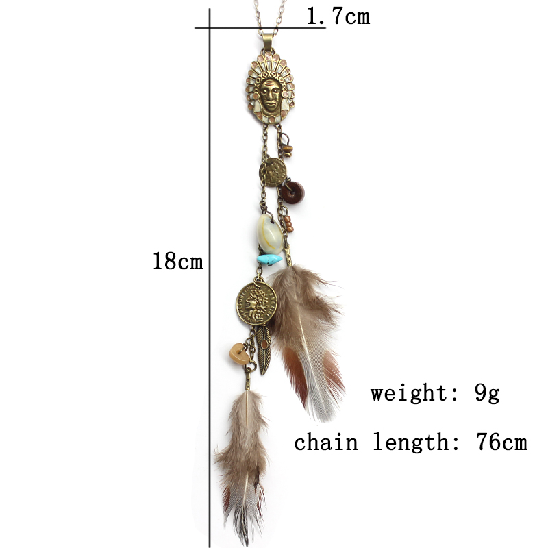 HTB1anDtmsjI8KJjSsppq6xbyVXaa - Women Long Necklace Indian Coin Stone Feather Fringed Necklaces Decorative Sweater Chain Collar Pendant Choker Bijoux (XL012)