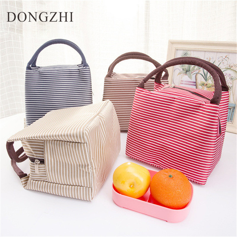 NEW Stripe Lunch Box Bag With Handle Insulated Lunch Bags Picnic Camping Lunch Container For Food Storage Lunch Holder LB018