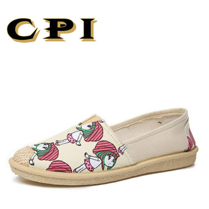 CPI 2018 New Canvas Shoes Women Slip On Espadrilles Women Comfortable Round Toe Loafers Flats Ladies Casual Flat Shoes VV-33 new round toe slip on women loafers fashion bow patent leather women flat shoes ladies casual flats big size 34 43 women oxfords