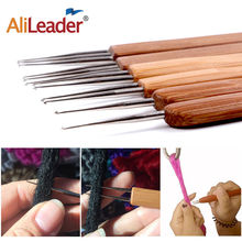 AliLeader Crochet Needle Hooks For Dreadlock Braiding Hair Making Bamboo Handle With Stainless Steel One Double Triple Head 1pcs