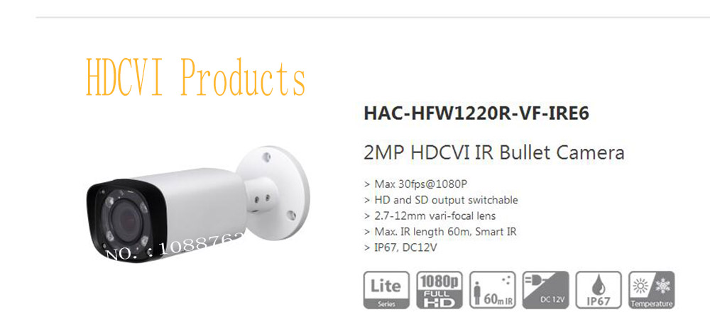 Free Shipping DAHUA CCTV Outdoor Camera 2MP HDCVI IR Bullet Camera IP67 Without Logo HAC-HFW1220R-VF-IRE6