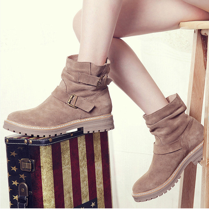 Elegant Fashion Woman Winter Boots Brown Black Suede Ankle Boots Flat Short Buckles Boots Warm Snow Boot Free Shipping