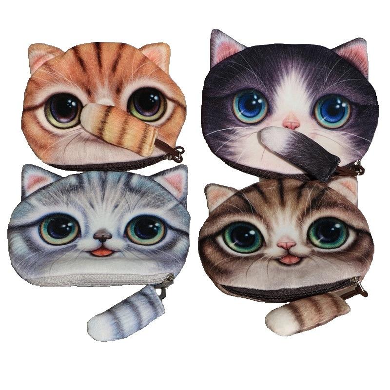New Cute 3d animal Face Zipper Case cat Coin font b Purse b font female font