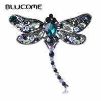 Blucome verde libélula broches corsages jóias de cristal brilhante broche vintage cristal grandes broches cachecol roupas hijab pinos para cima