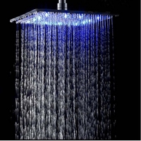 Uthner Newly Arrival Luxury Chrome Brass LED Square Rain Shower Head Top Over Shower Sprayer For 8 /10 /12 /16 /20 /24