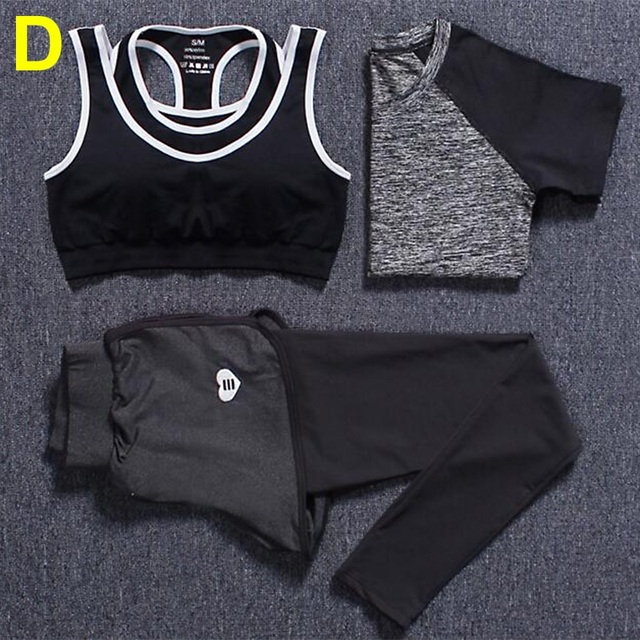 3 Piece Fitness Sets T-shirt+Bra Vests+Pants