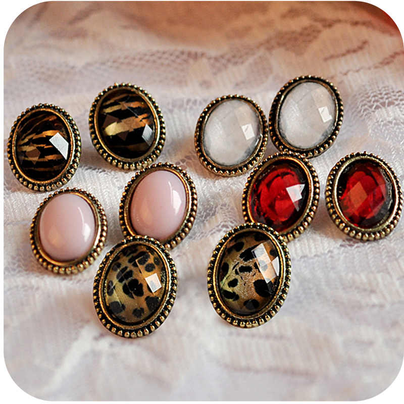 OMH wholesale  12 pair off 40% = $0.36/pair EH23 fashion accessories sexy small vintage leopard print small oval stud earring 5g