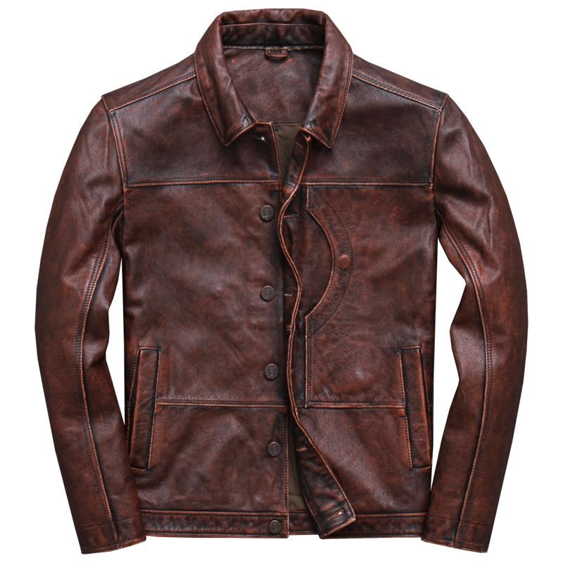 2019 Vintage Brown Men Smart Casual Leather Jacket Single Breasted Plus Size XXXL Genuine Cowhide Russian Innrech Market.com