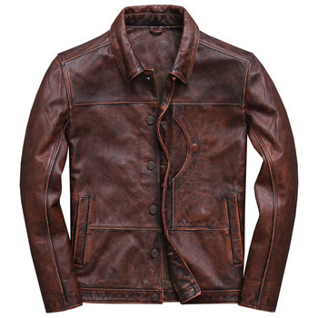 2019 Vintage Brown Men Smart Casual Leather Jacket Single Breasted Plus Size XXXL Genuine Cowhide Russian Coat FREE SHIPPING
