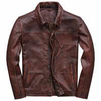 2019 Vintage marrón hombres Smart Casual chaqueta de cuero solo pecho más tamaño XXXL cuero genuino abrigo ruso envío gratis