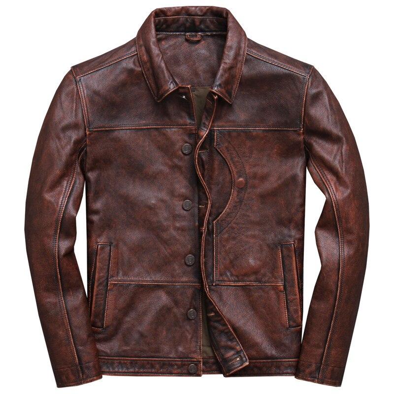 2019 Vintage marron hommes Smart décontracté veste en cuir simple boutonnage grande taille XXXL véritable peau de vache russe manteau livraison gratuite