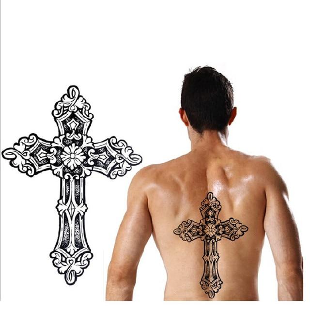 1 Hoja Tatuaje Grande Cruz Tatuaje Temporal Cuerpo Arte Hombres