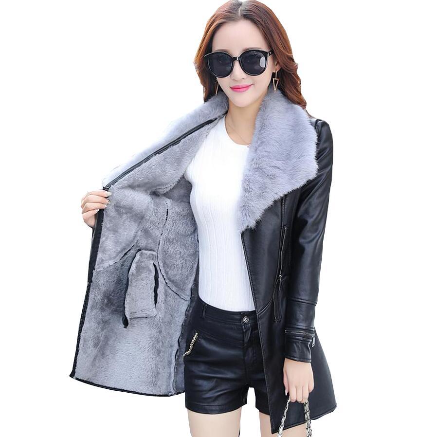 Kadın Giyim'ten Deri ve Süet'de Artı Boyutu 3XL Kadın PU Deri Ceket Moda Ince Artı Kadife Ceket Bayanlar Sahte Sentetik Uzun Deri Ceket s1060'da  Grup 1