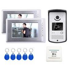 """ShippingHome libre de DHL 7 """"entrada de vídeo Portero automático Sistema de Teléfono de La Puerta 2 Monitores + Lector de Acceso RFID Cámara En Stock Por Mayor"""