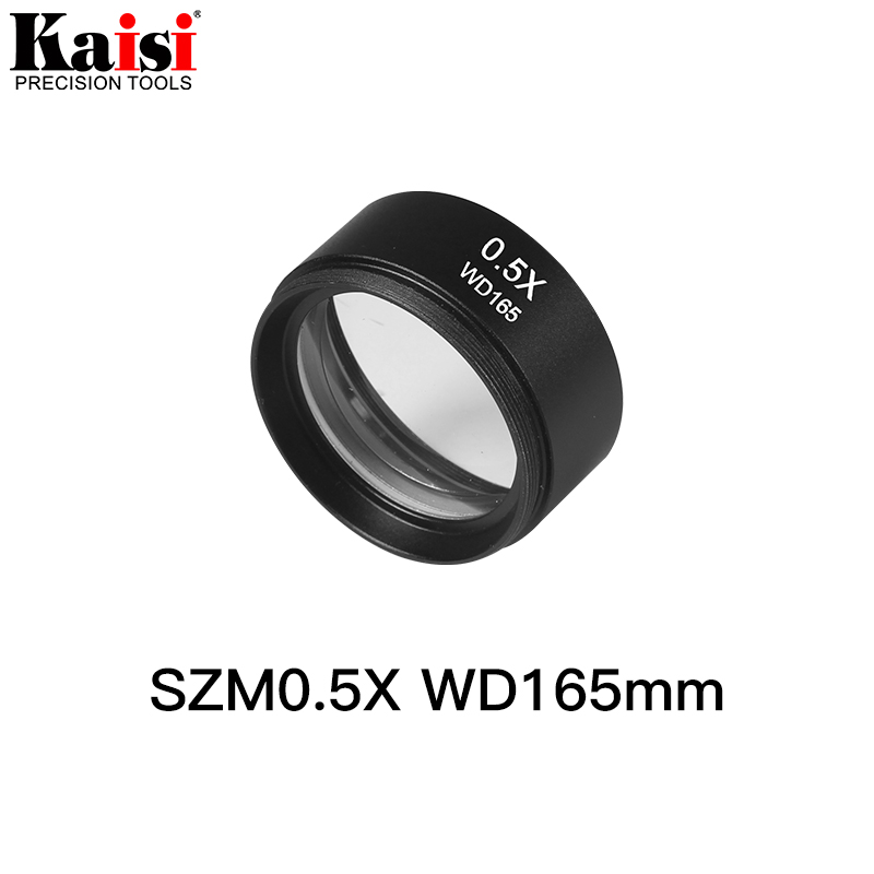 Kaisi SZM0.5X Auxiliary Objective Lens For Stereo Zoom Microscope WD165mm Free Shipping fyscope szm 0 75x objective lens for stereo zoom microscope objective wd120mm